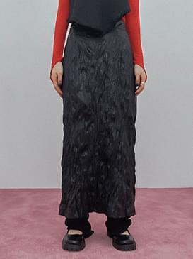 Wrinkle Leather Long Skirt