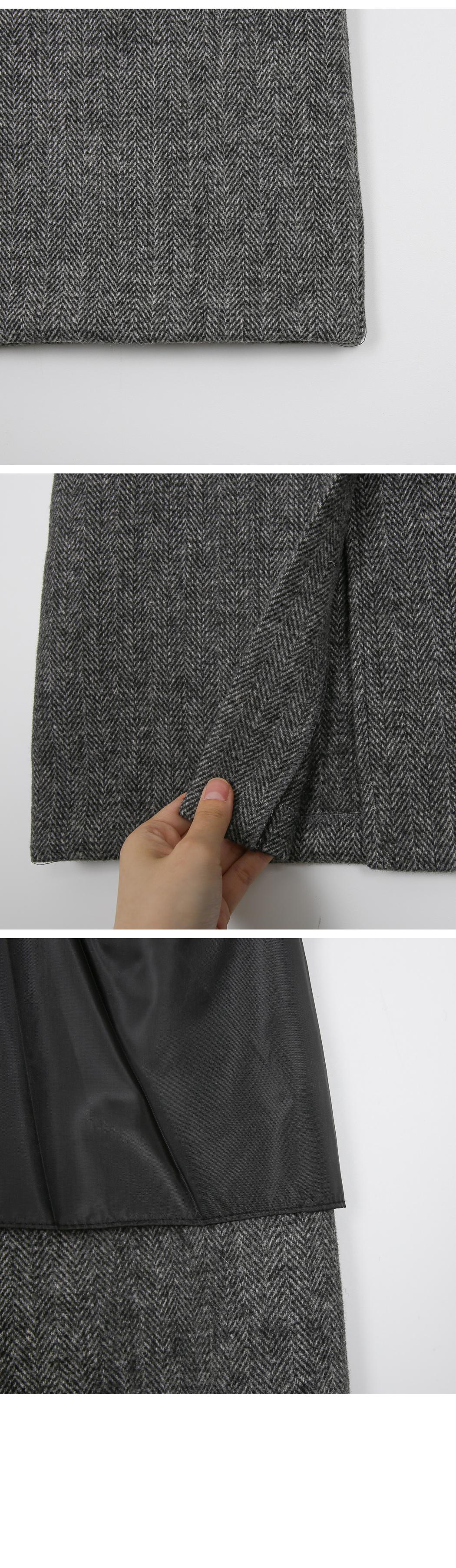 MMMM / Herringbone Vent Wool Skirt