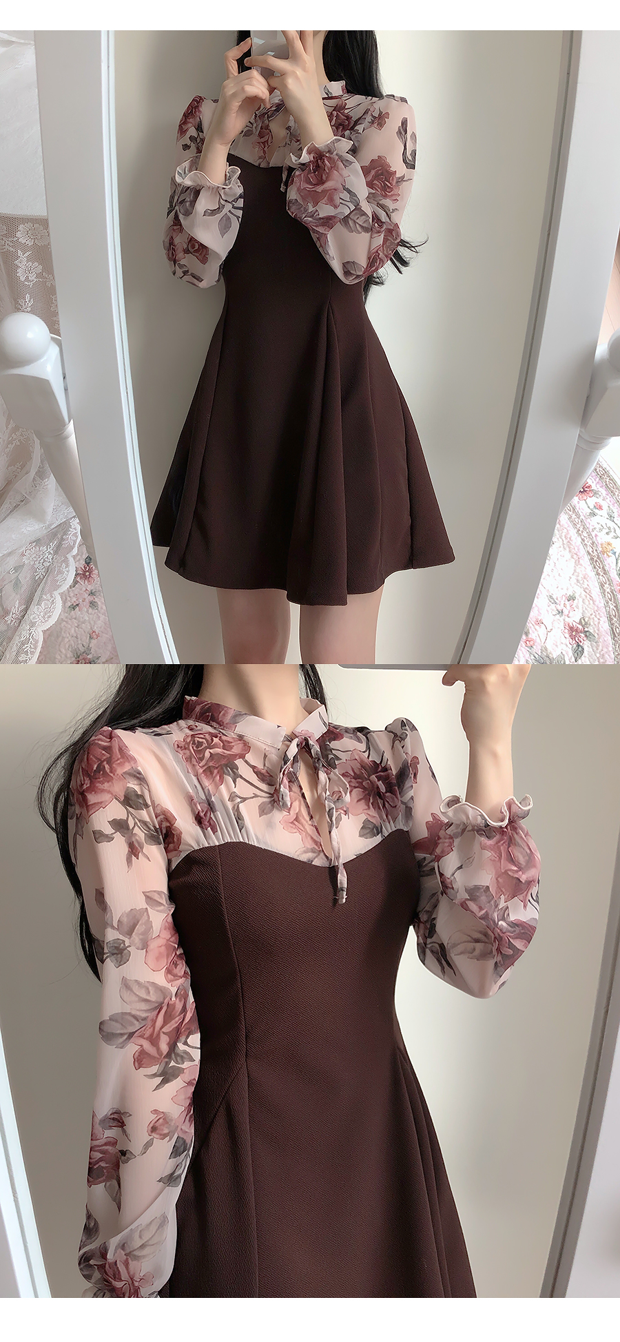 Mary floral ribbon dress