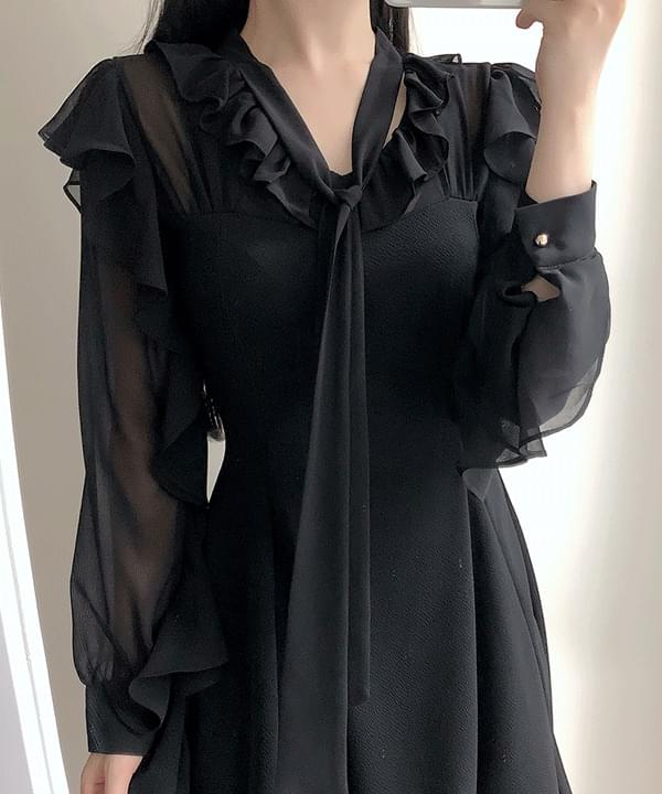 Belle sleeve frill dress