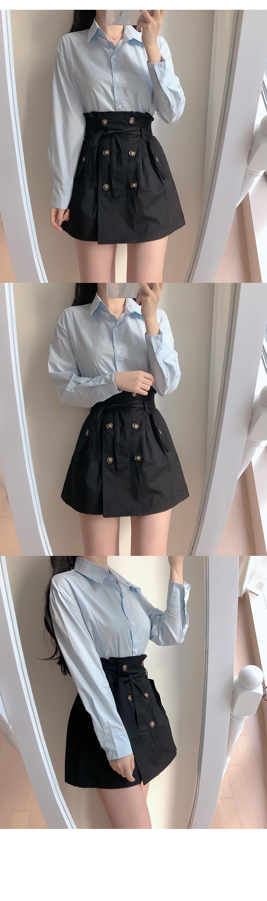 Milano collar shirt + trench skirt set