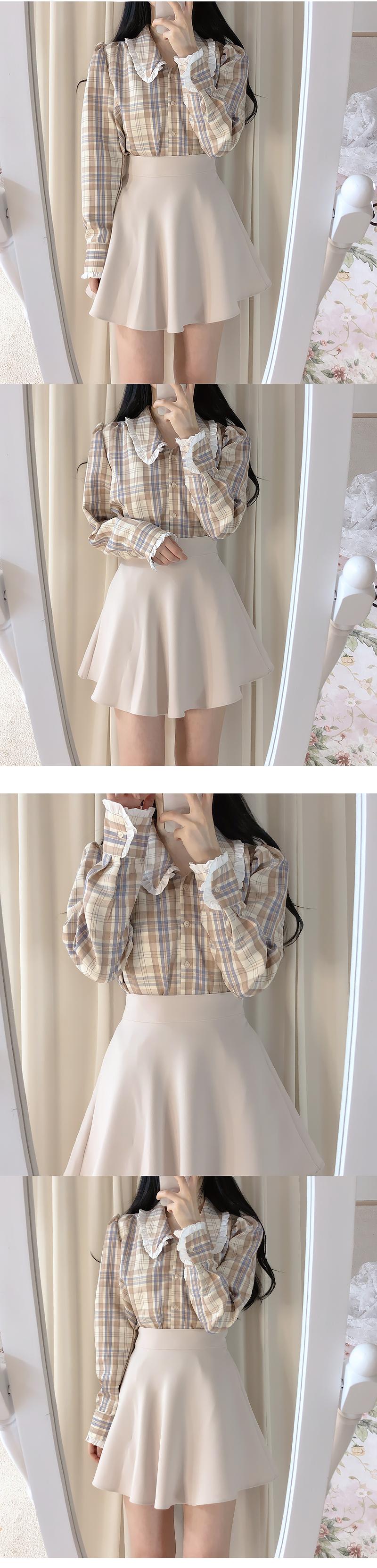 娃娃領荷葉邊公主袖格紋襯衫