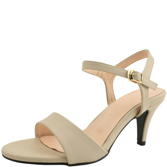 韓國空運 - Basic Strap High Heel Sandals 7cm Beige 涼鞋