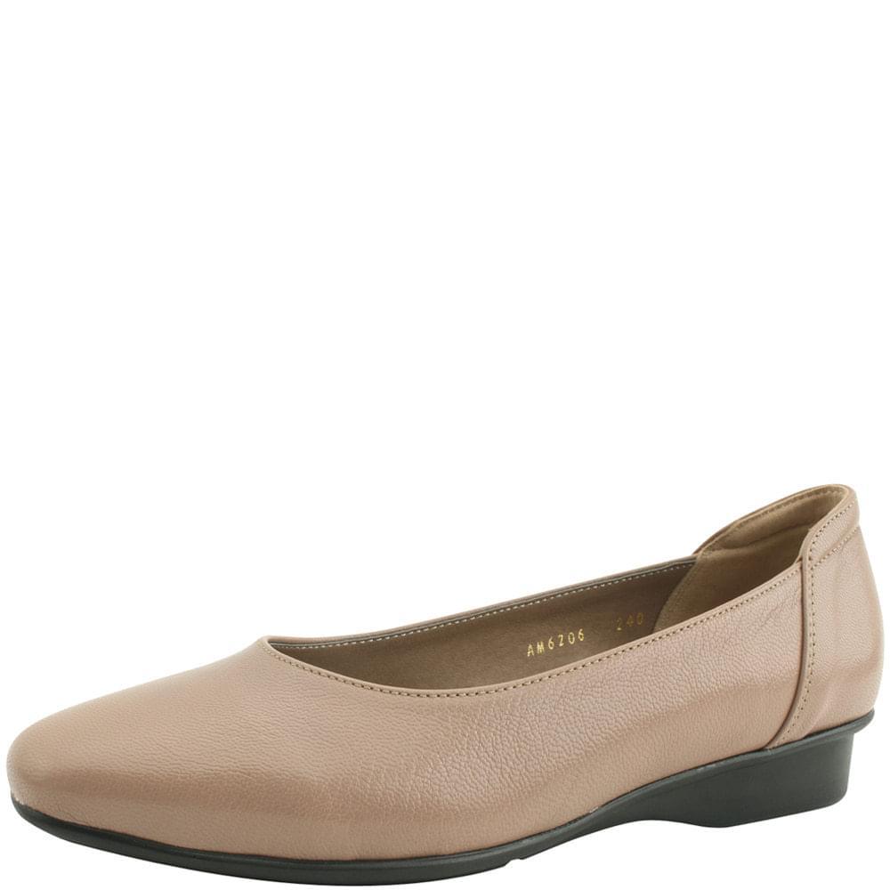 韓國空運 - Cowhide Comfort Loafers Low Heel Beige 樂福鞋