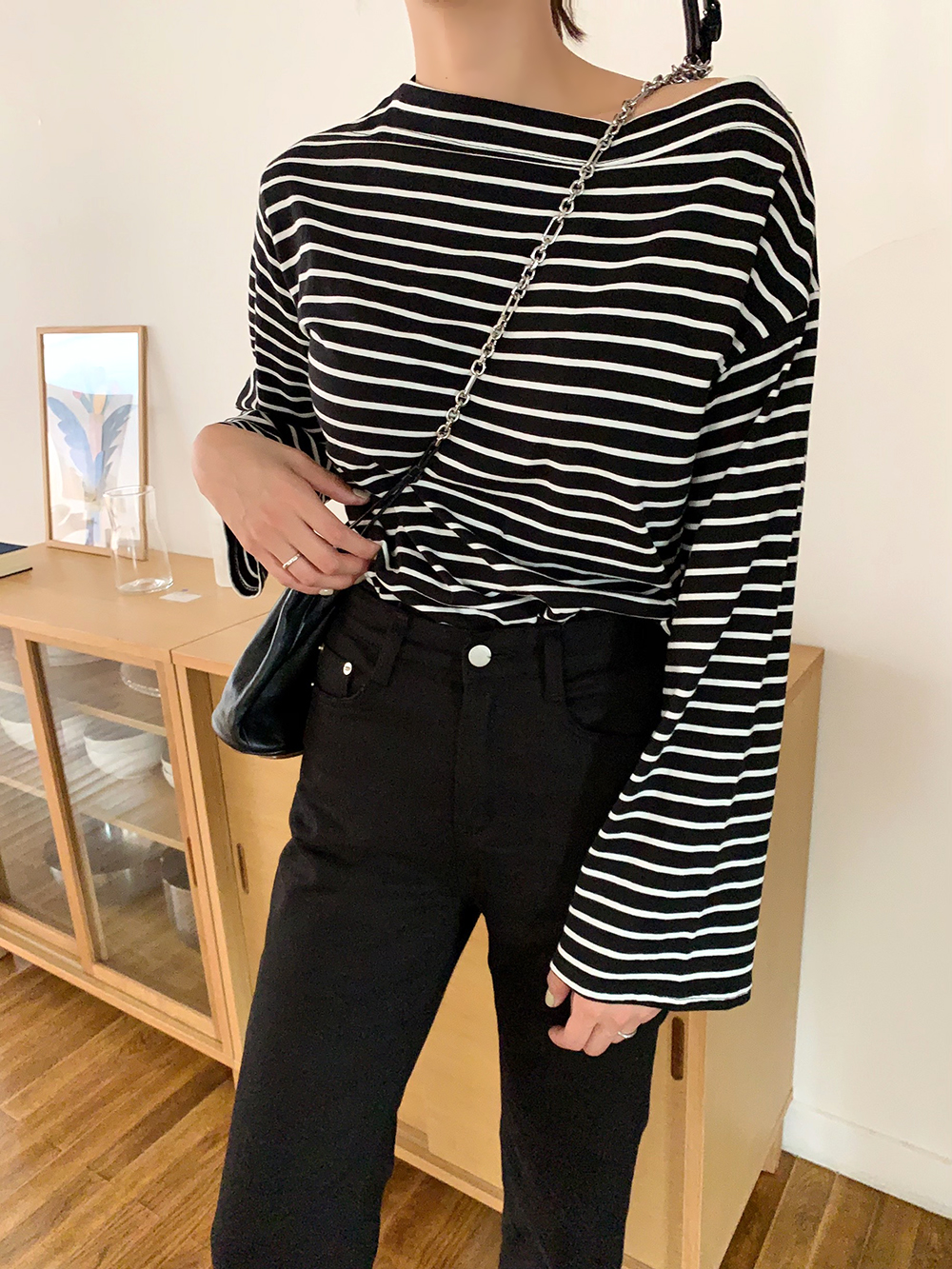 Boat neck striped tee