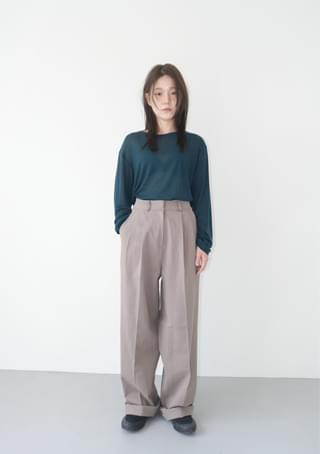 wide fit cotton twill pants パンツ