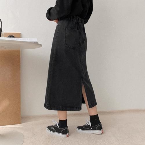 Expresso Black Blue Long Skirt