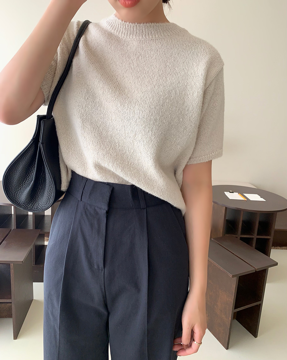 Pintuck chino trousers