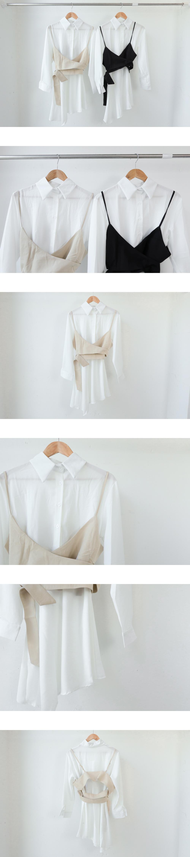 鈕釦緊身襯衫連衣裙