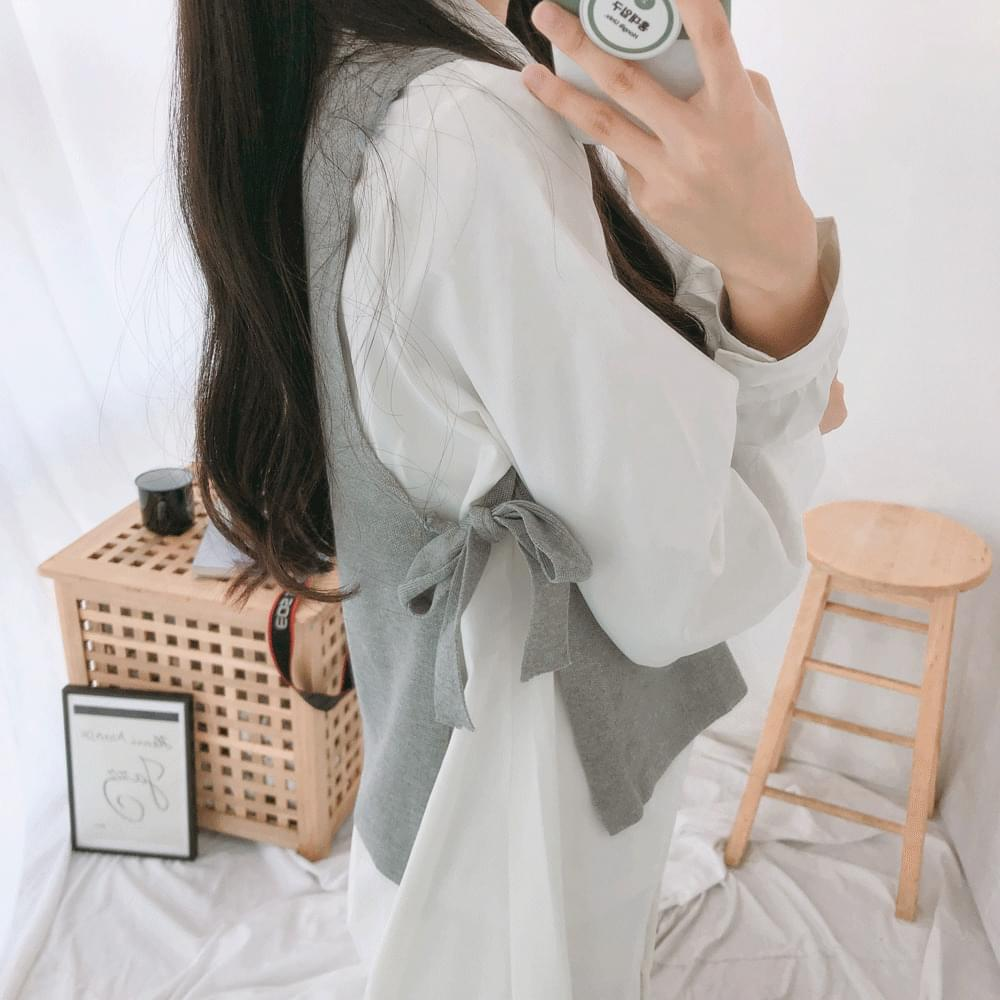 Knit Vest Long Shirt Dress