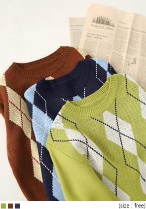 配色菱格紋微短版針織上衣