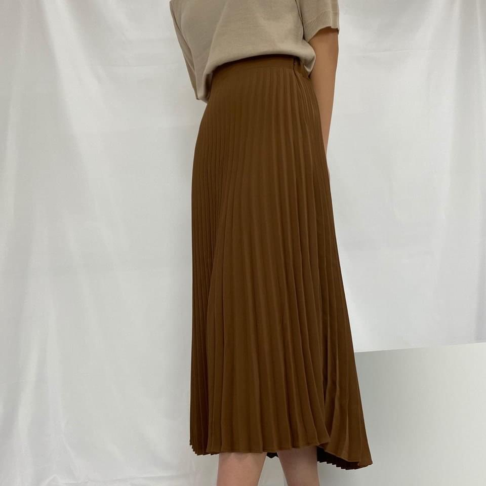Back banding pleated long skirt skirt