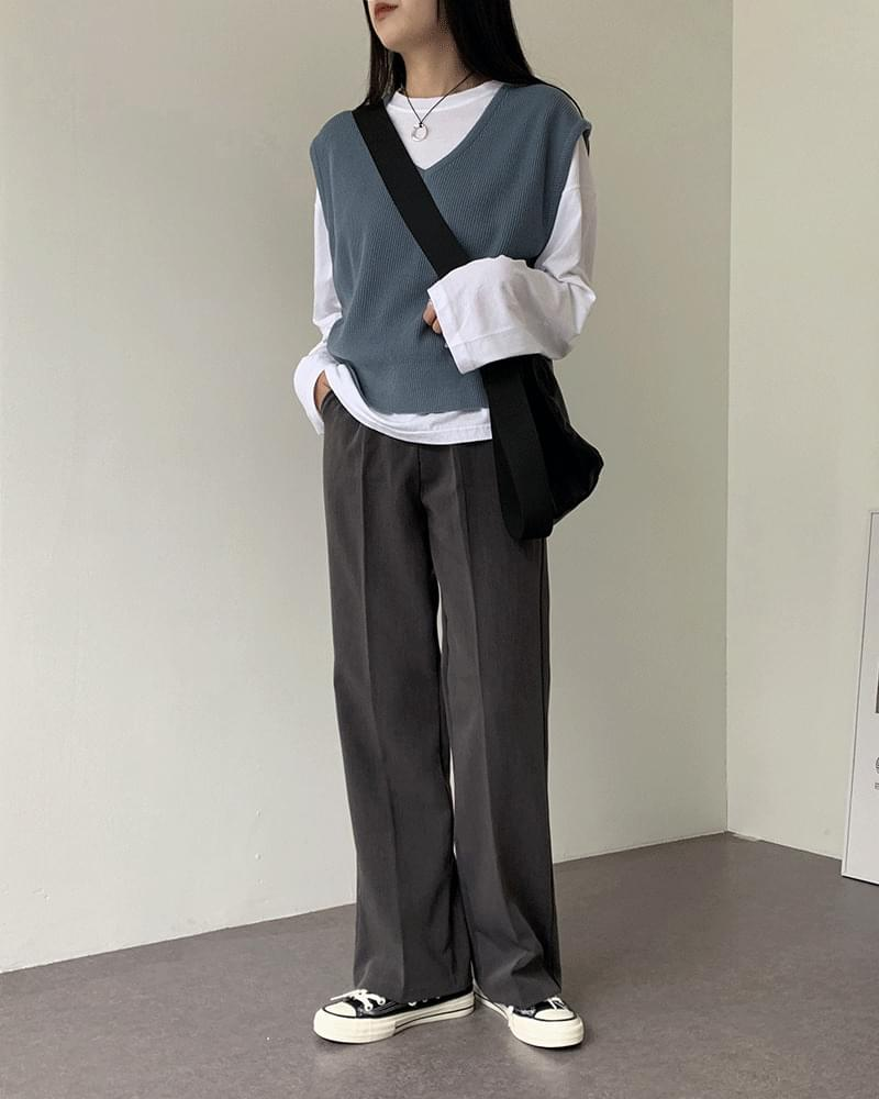 Jerry Basic Wide Straight Fit Long Slacks