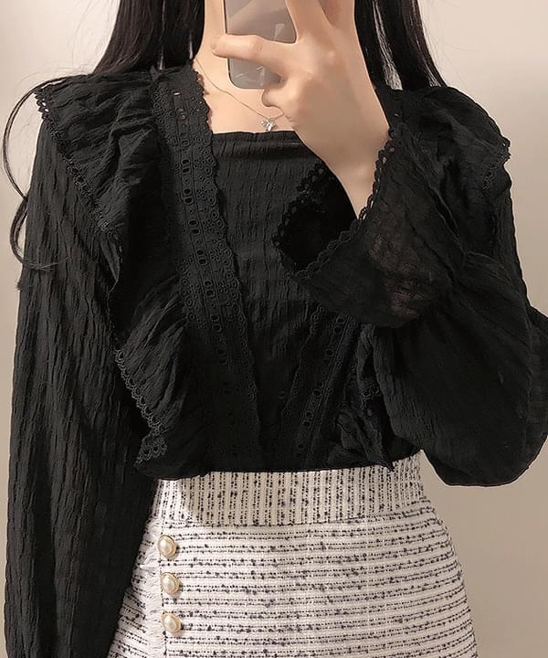 Lilang lace frill blouse