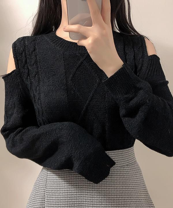 Jade Twist Shoulder Split Knit