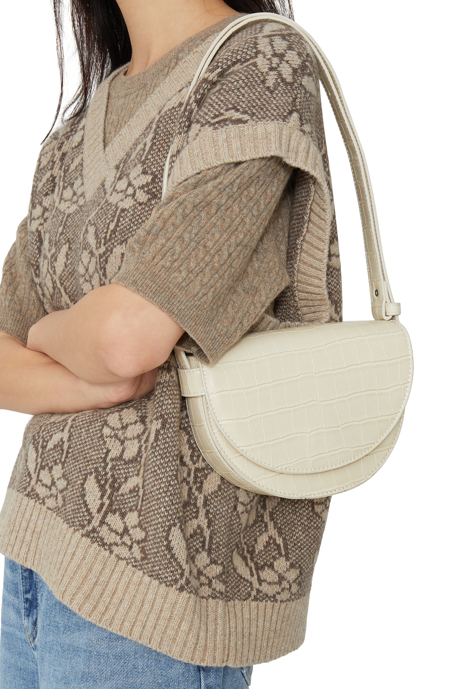 Loa Animal Pattern Half Moon Shoulder Bag