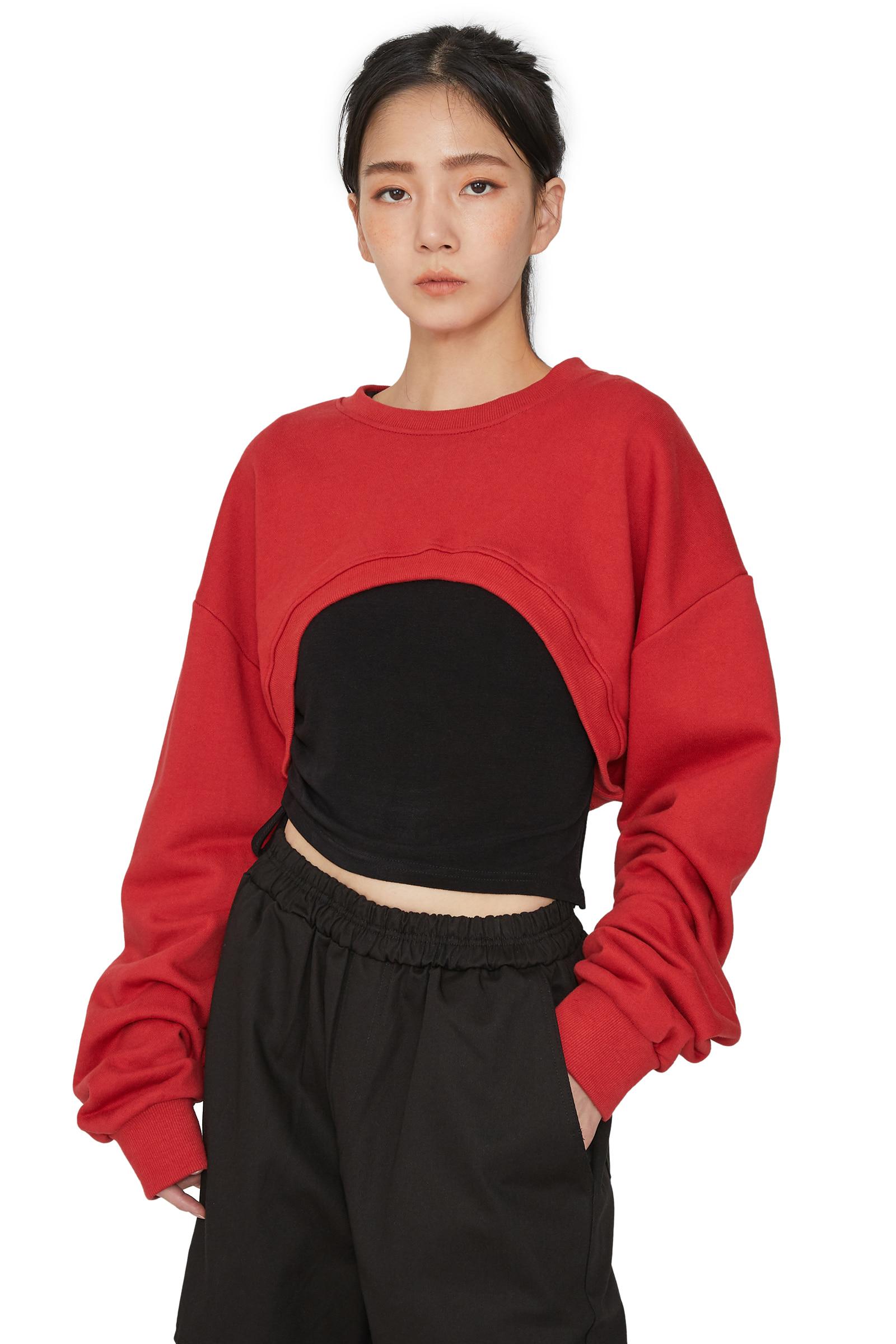 Hippie cropped crew neck sweatshirt