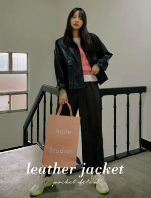 Fuzzy Pocket Loose Fit Leather Jacket