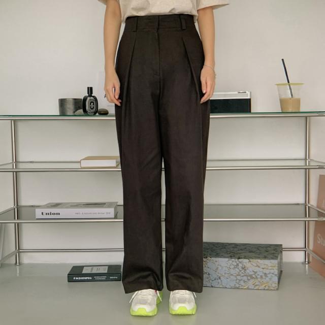 Biscuit pintuck wide cotton pants 長褲
