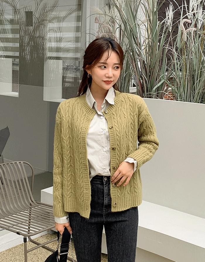 Twist knit cardigan