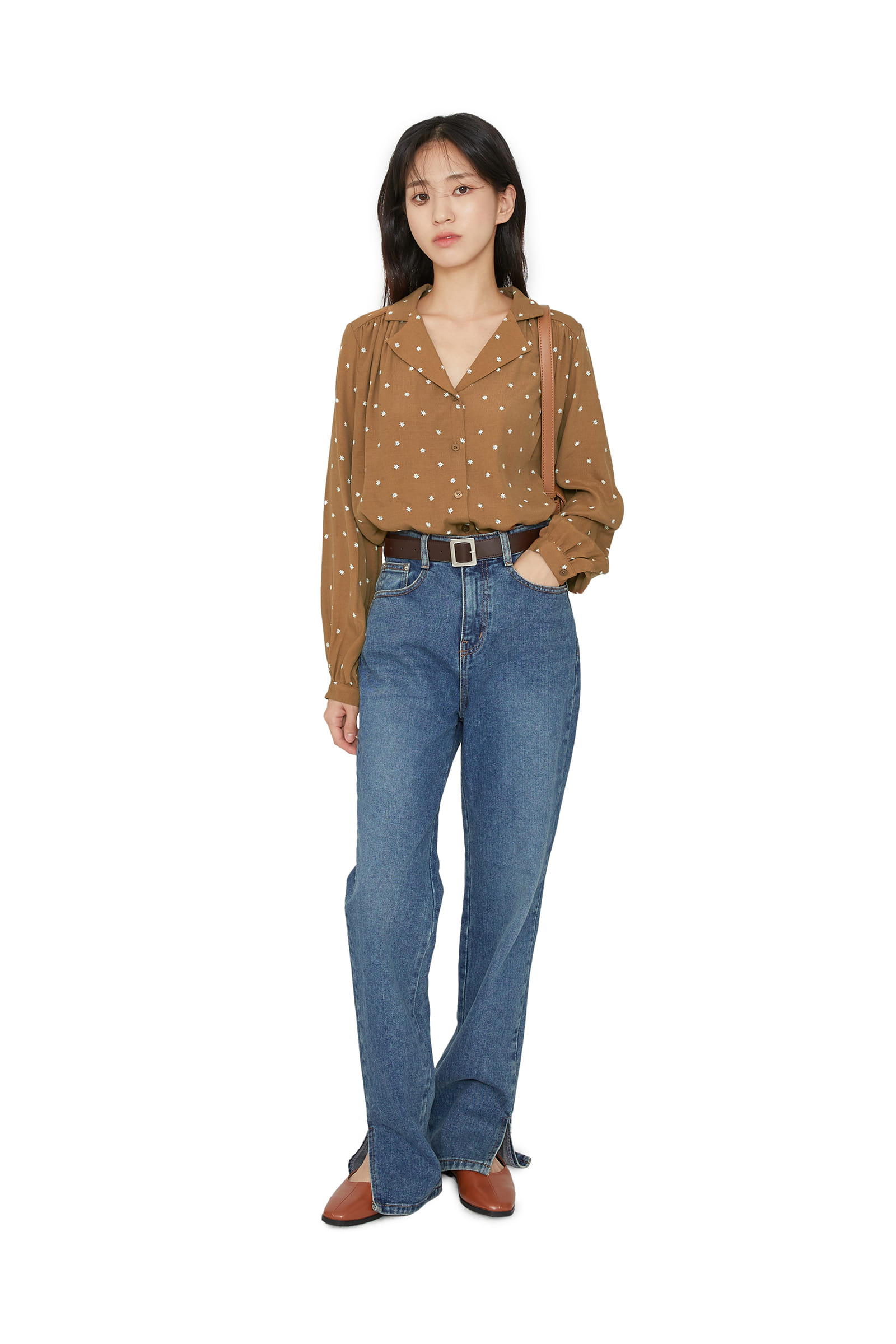 Easy slit bootcut jeans