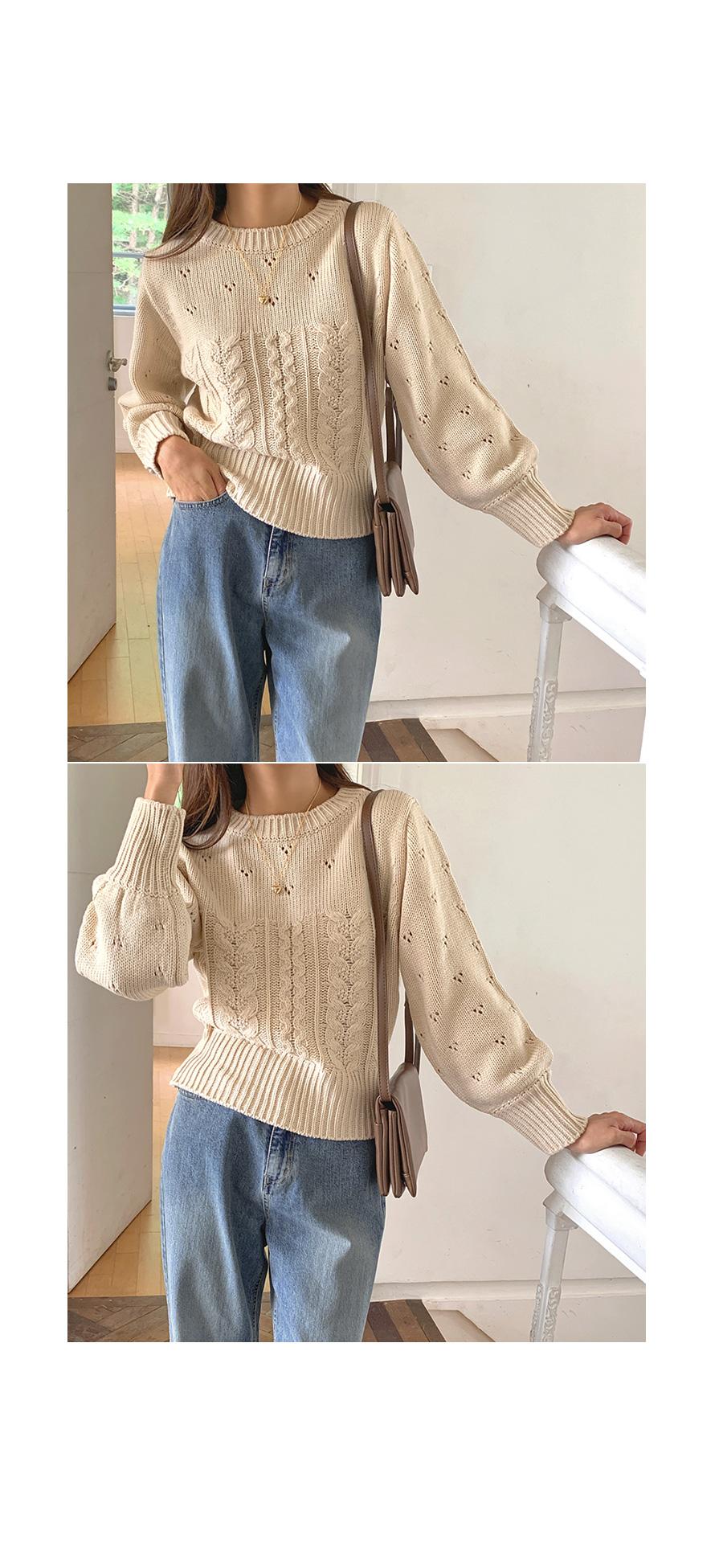 麻花打洞設計針織上衣