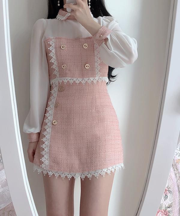 Meebel tweed lace skirt 裙子