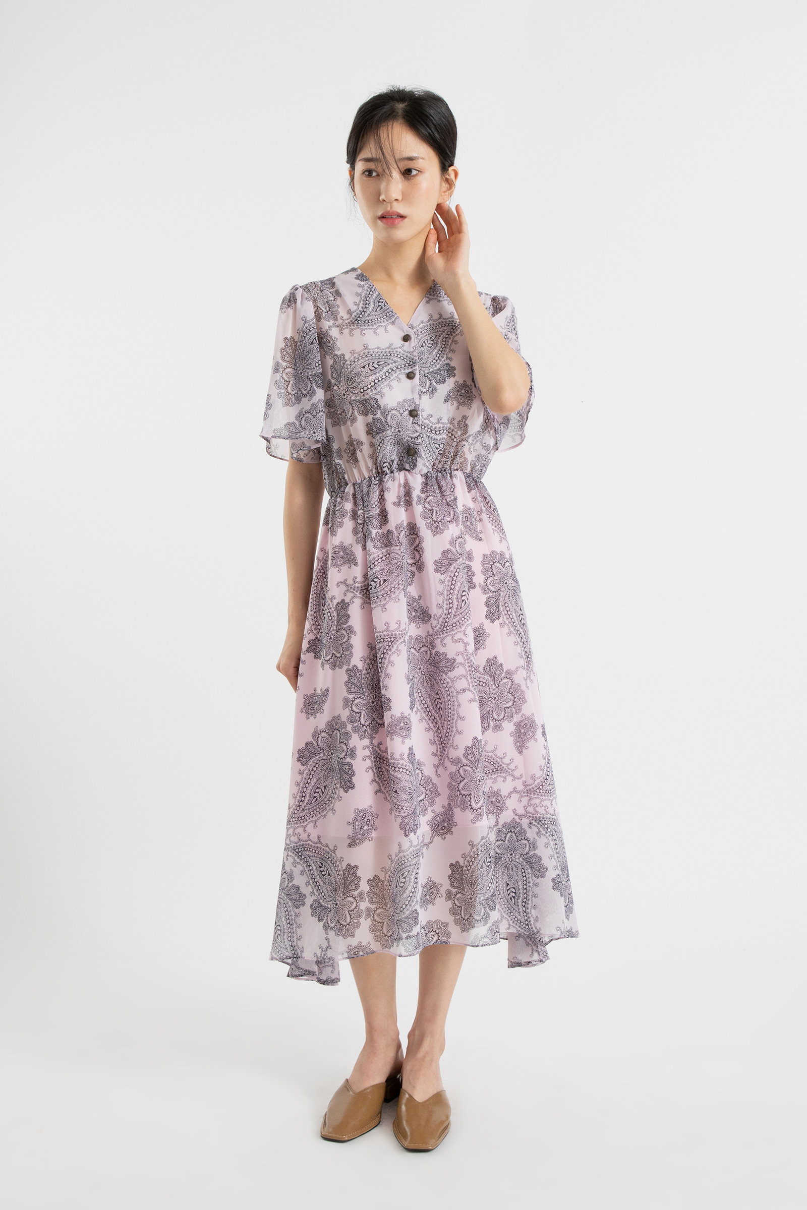 Peak Paisley V-neck midi dress