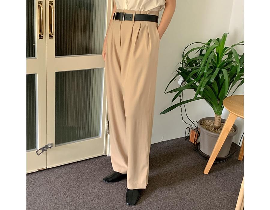 Sand linen pin tuck wide slacks
