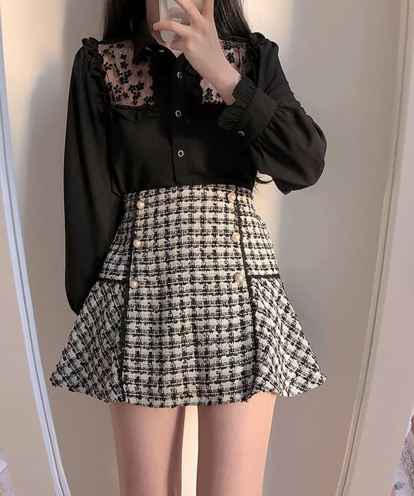 Megan Tweed Color Matching Skirt Pants
