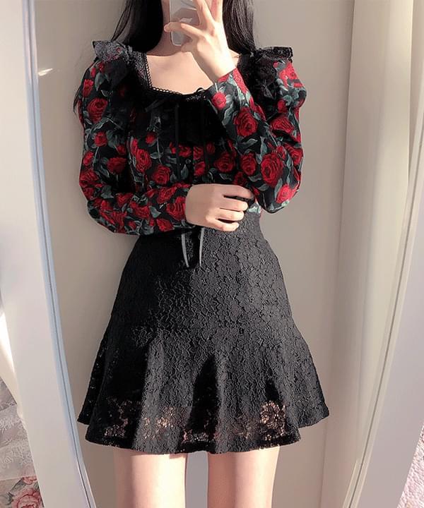 Dark rose lace blouse
