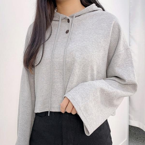 Two-it button cropped hoodie