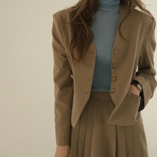 Brownie Mannish no-collar short jacket