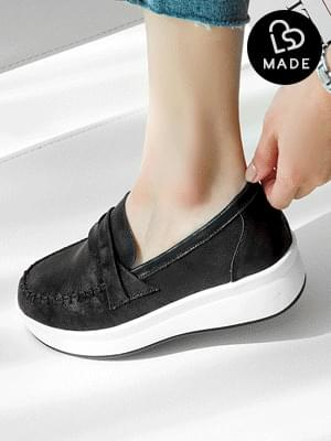 Celeb leather height slip-on 5cm sneakers