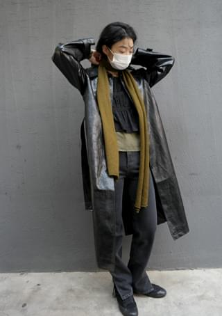 fake leather full length coat コート
