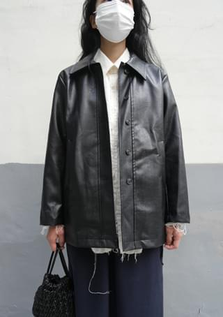 fake leather half coat コート