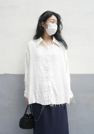 cut-off wave pattern shirt ブラウス