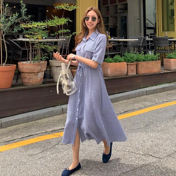 Wrinkle-free check pattern collar neck long dress #37644