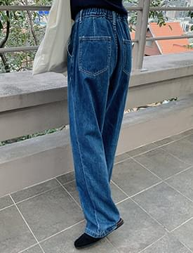Heat Pin Tuck Wide Denim Pants 牛仔褲
