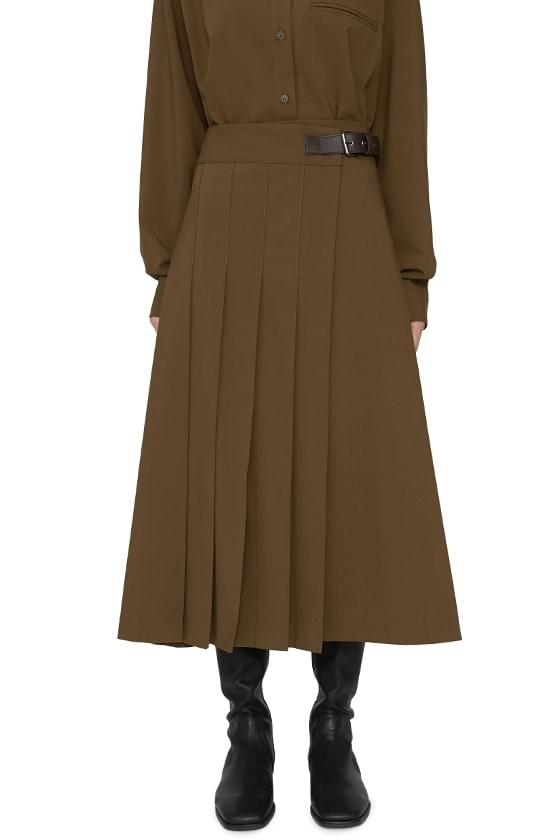 Burning Buckle Pleated Maxi Skirt 裙子