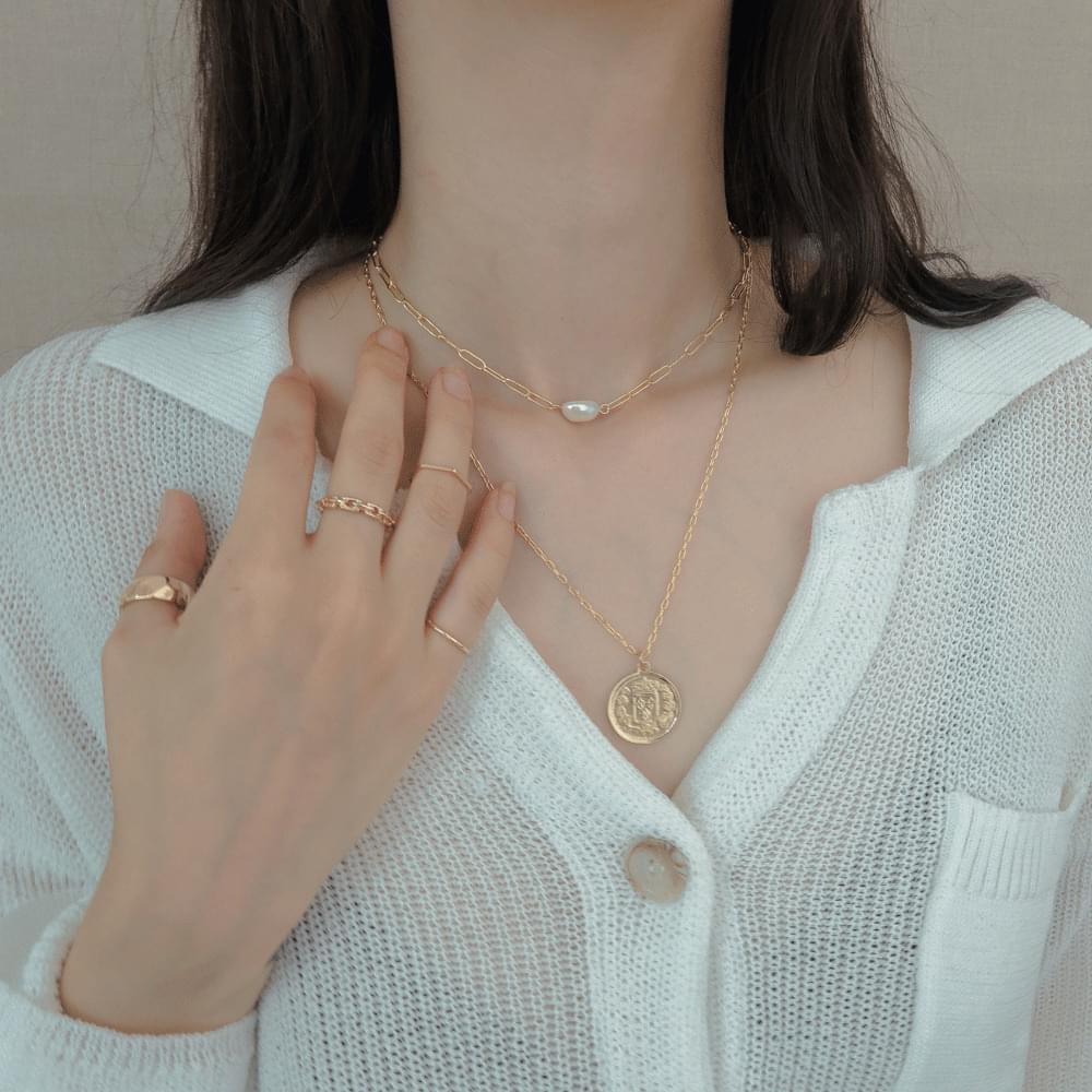 879 Big Coin Pearl Layered Necklace 項鍊