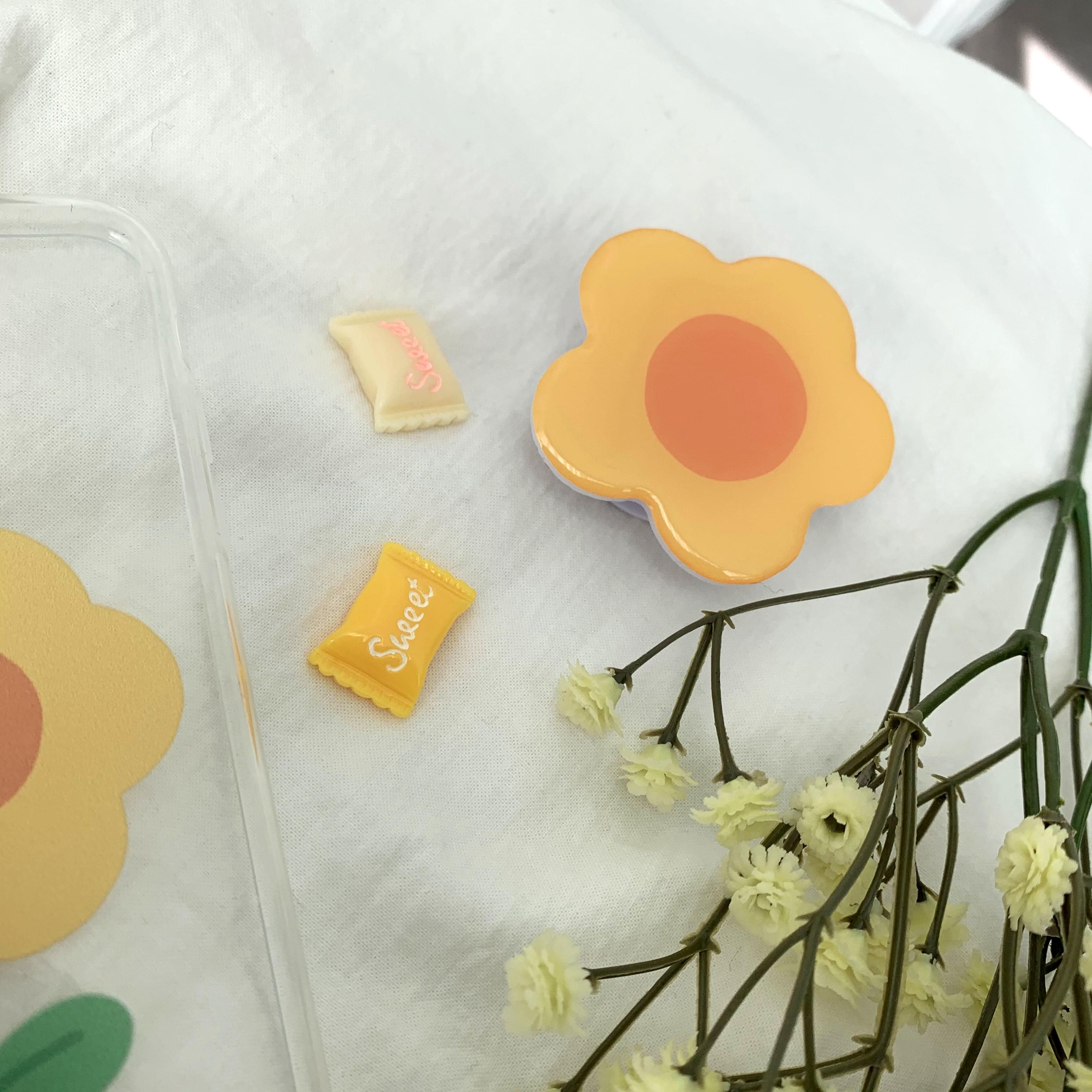 韓國空運 - Yellow Daisy Flower Shape Epoxy Grip Smart Tok Holder 手機殼