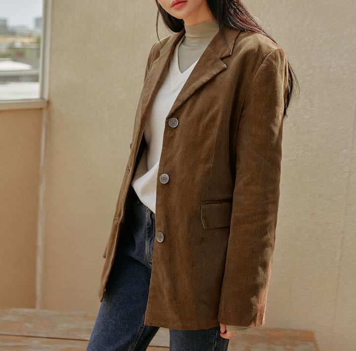 Single-Breasted Corduroy Jacket