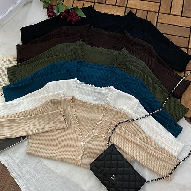 Dali ruffle ribbed cardigan