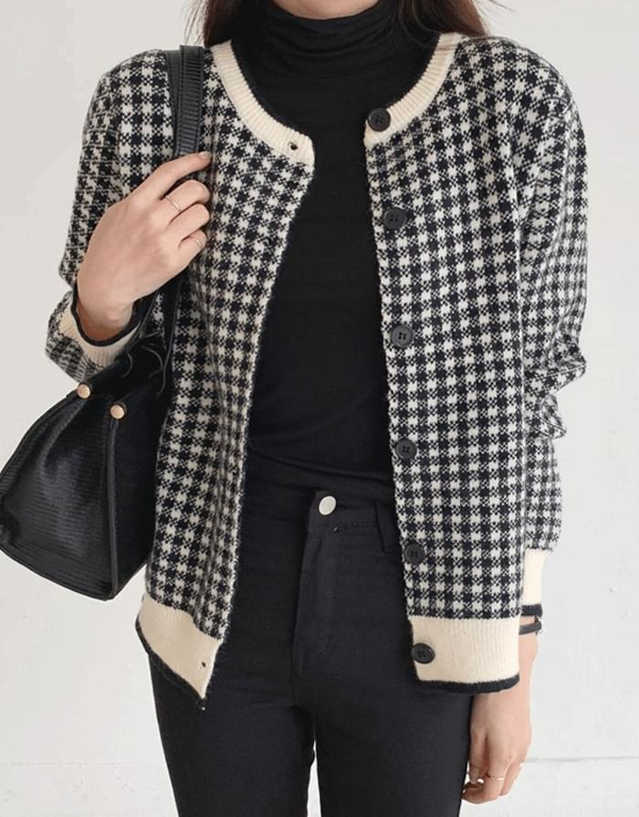 Hound check round knit cardigan 開襟衫