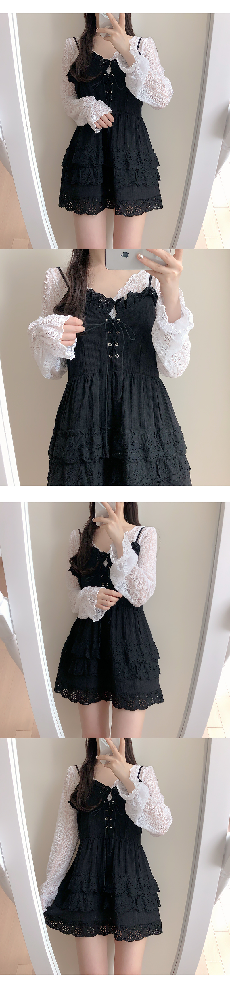 Eyelet punching lace thong dress