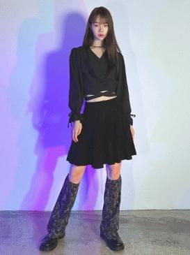 Pleated shure knit skirt skirt