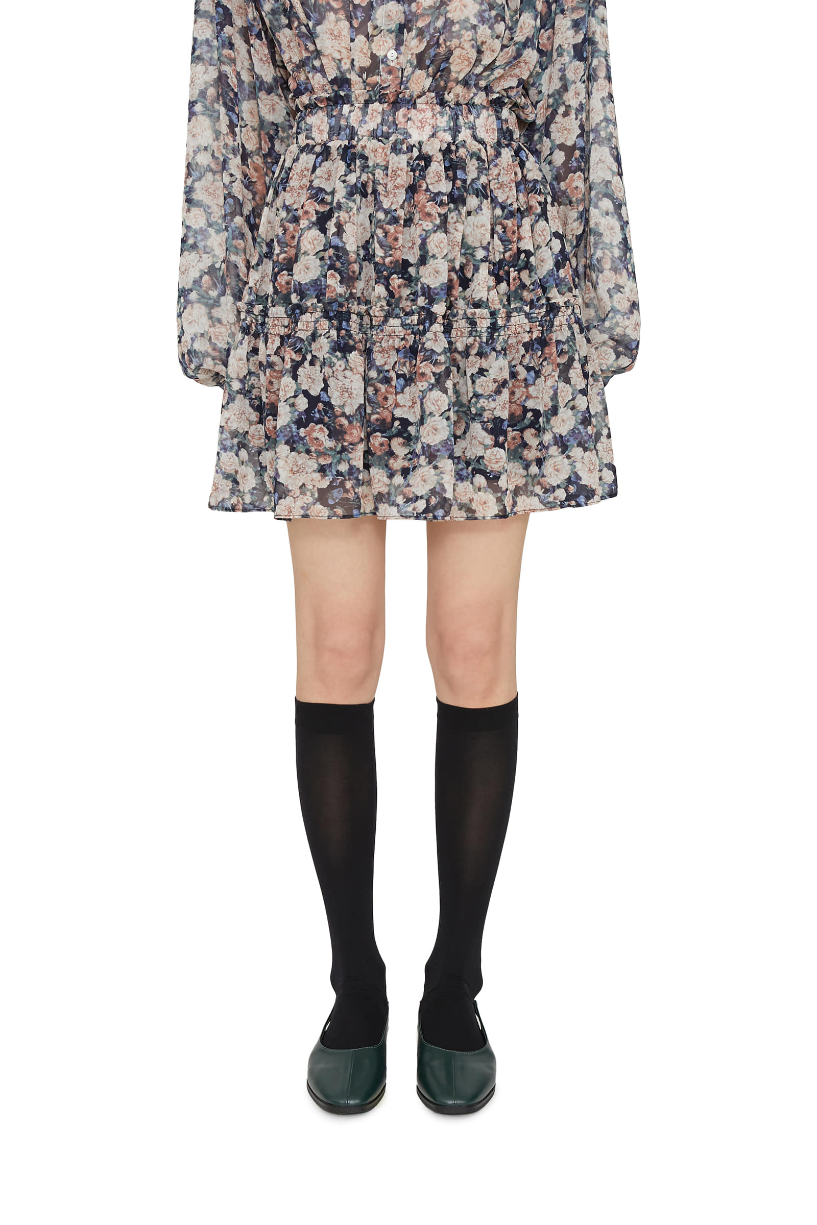 After floral mini skirt