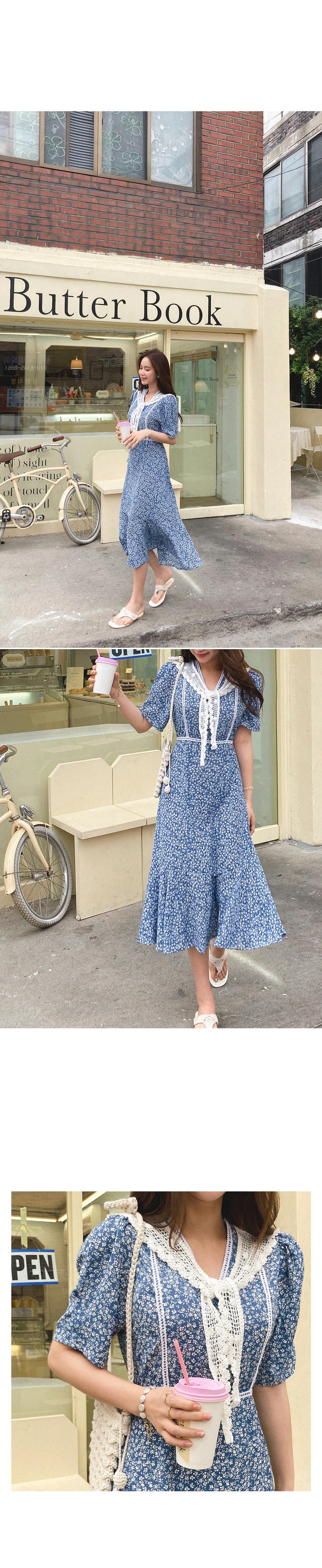 Nice lace-filled long dress + Knit top SET
