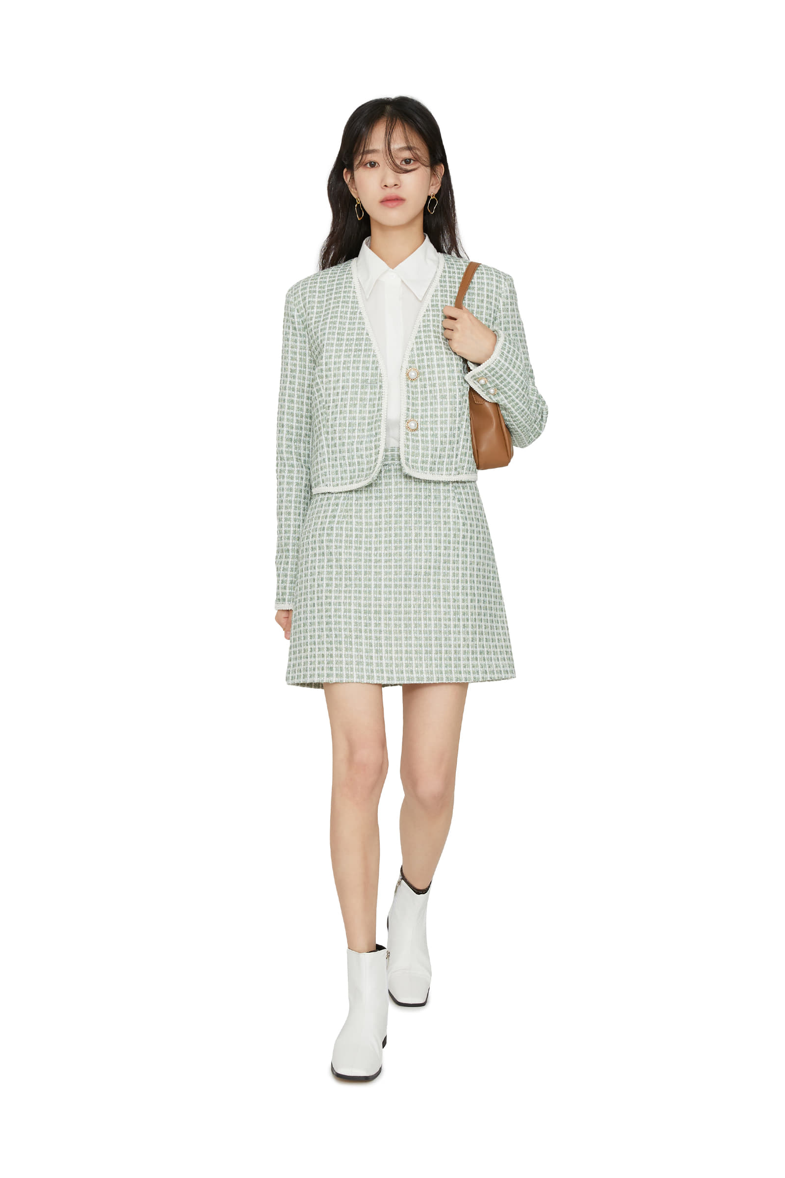 Maid tweed mini skirt